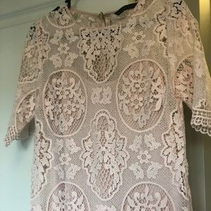 Zara Dresses - Lace Blush Short Sleeve Dress